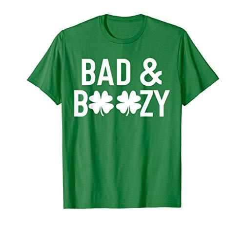 Saint Patricks Day Shirts Bad and Boozy Lucky Shirt Shamrock