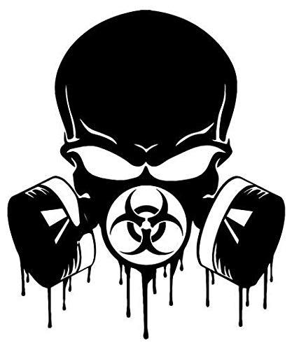 Biohazard Respirator Gas Mask Skull - Sticker Graphic - Auto, Wall, Laptop, Cell, Truck Sticker for Windows, Cars, -