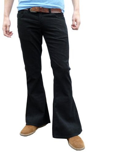Fuzzdandy - Mens Retro Black Bell Bottoms Cord Flares Vintage 60S 70S Style - 60s Style Mens