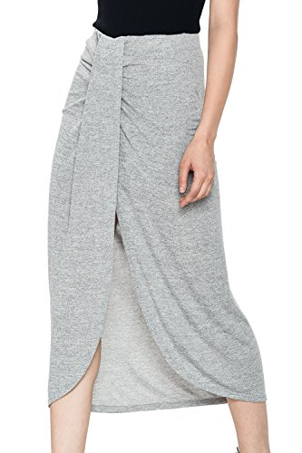 Glostory Women's Casual Split Wrap Ruffle Elegant Skinny Knitting Long Maxi Skirt WQZ-1354 (M, Grey )