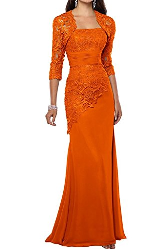 Bride Women Formal with of Gowns Jacket Dress VaniaDress Mother The Long V263LF Orange ACqSXwX6