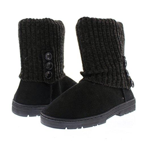 Knit Button Heather Fur Lined Sweater Toe Gold Suede Black Faux Ashlyn 3 Ribbed Women's Crochet Triplet Boot PIqqxZ84w