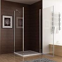 Mampara de ducha sin marco 180° puerta pivotante con panel lateral ...
