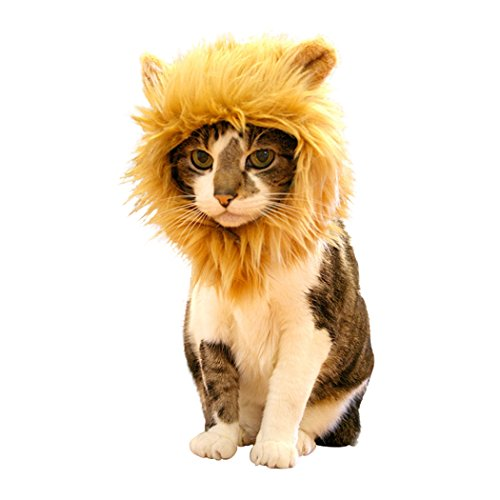 Real Spark(TM) Cat Wigs Lion Mane Furry Pet Dress Up Costume With Ears For Cats Or Little Dogs