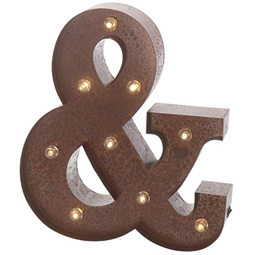 "Barnyard Designs Metal Marquee Letter & Light Up Wall Initial Wedding, Home and Bar Decoration 12"" (Rust) ()"