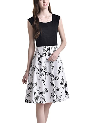 Women's Vintage Floral Print Sleeveless Midi Dress (L, black&white)