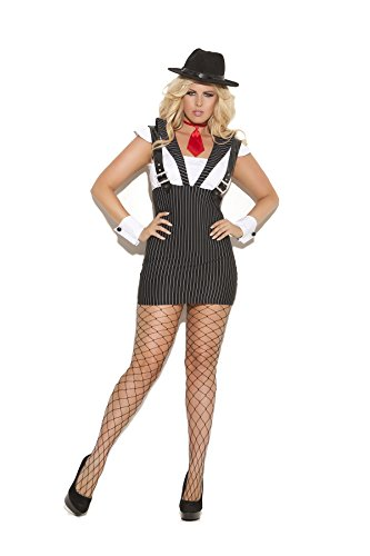 Mafia Lady Costume (Sexy Women's Machine Gun Greta Mobster Roleplay Costume, 1X/2X, Black Striped)