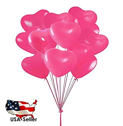 100pcs 10quot Heart Shaped PINK Balloons Wedding Birthday Party Decoration