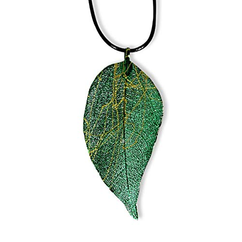 Daobg-stable Real Filigree Nature Leaf Pendant Necklace Jewelry (Green) 5/8' No Leaf Pendant