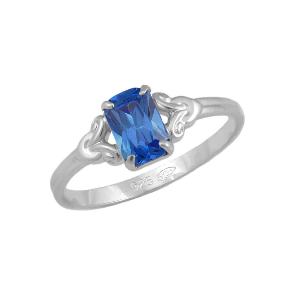 Girls Jewelry - Sterling Silver Simulated September Birthstone Ring (size 4)