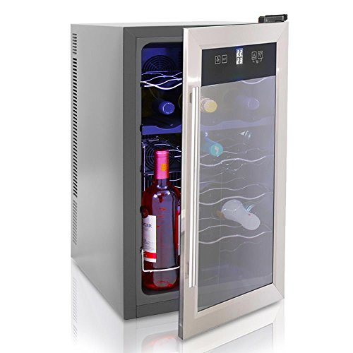 Nutrichef 18 Bottle Wine Cooler - w/Adjustable Temp Setting, LED Lights & LCD Digital Display, Stainless Steel, Beverage Fridge, Simple Electric Plug-in, Red & White Wine Chiller - PKTEWCDS1805