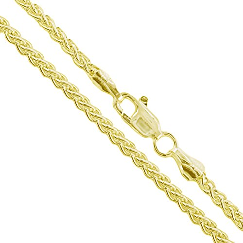 10k Yellow Gold-Hollow Round Braided Wheat Spiga Link Chain 2.2mm Necklace 26