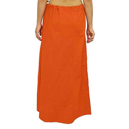 Sari enagua enagua Sólido Algodón Forro de Bollywood de la India Para Sari naranja