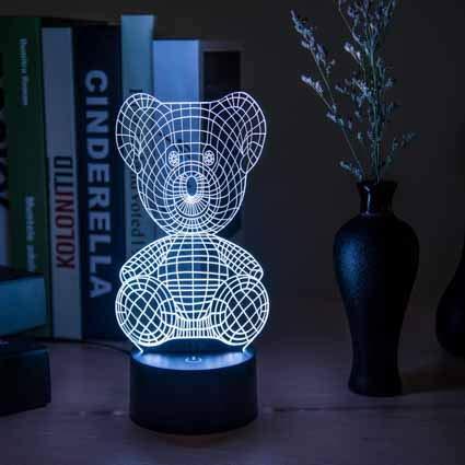 Geschenk des Nachtlichts 3d kreatives Licht der Nacht 3d führte Schreibtischlampe usb-Lampe romantisches Geburtstagsgeschenk 3d stereoskopischen Bärnbären sieben Farben
