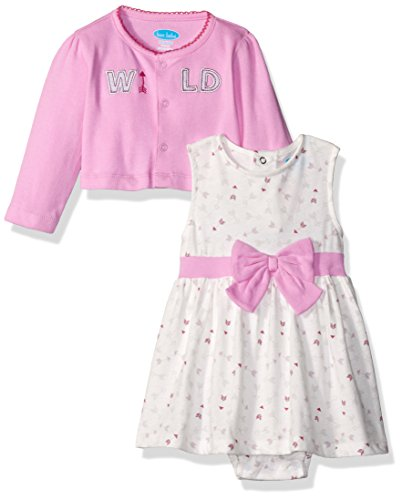 [BON BEBE Baby Girls' 2 Piece Dress and Cardigan Set, Wild Pink, 0-3 Months] (Baby Easter Dresses)