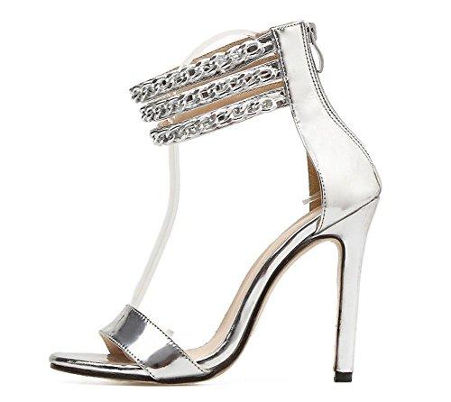 tacco alla party Stiletto Peep GAIHU Donna caviglia cinturino Donna Sexy scarpe Nightclub dress alto Oro SILVER toe Argento Sandali WPW8XnZB