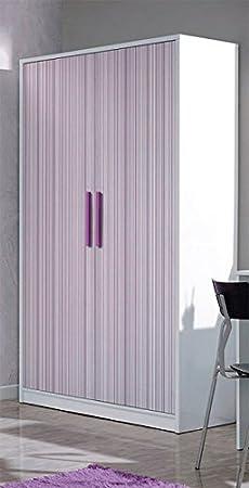 Mobimarket - Armario 2 puertas blanco frentes rayas lilas: Amazon ...