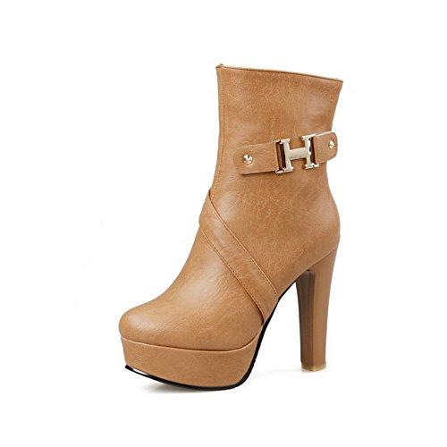 AgooLar Damen Blend-Materialien Hoher Absatz Niedrig-Spitze Reißverschluss Stiefel, Weiß, 36
