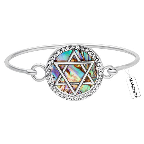 MANZHEN Jewish Charm Star of David Abalone Shell Wire Openable Crystal Bangle Bracelet(Silver)