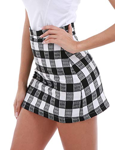 gh Waist Bodycon Mini Skirt School Girl Plaid Uniform Skirt Black S ()