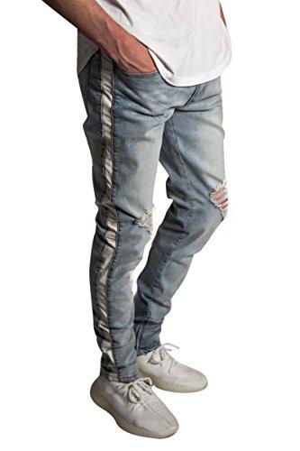 9d02dd782d2 KDNK Men s Tapered Skinny Fit Stretch Denim Ankle Zip Striped Track Jeans