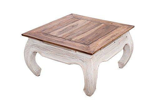 DuNord Design - Mesa de centro (60 cm, madera maciza, forma cuadrada), diseno vintage, color blanco