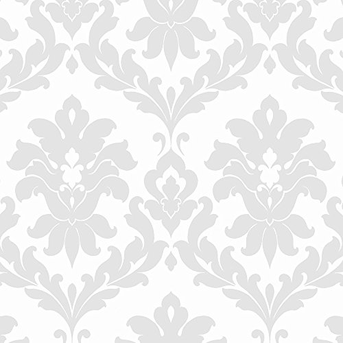 Norwall Plaza Damask Wallpaper (Plaza Stripe)