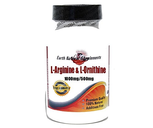 L-ornithine 500 Mg 100 Caps - L-Arginine and L-Ornithine 1000mg/500mg * 100 Caps 100 % Natural - by EarhNaturalSupplements