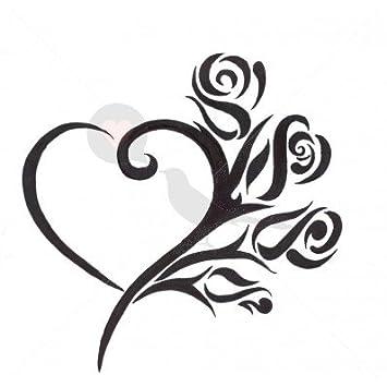 Rosa Love diseño de tatuaje temporal por temptatz: Amazon.es: Belleza