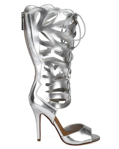 Delicious AG66-Leann-H Women Leatherette Mid Calf Open Toe Gladiator Stiletto Sandal - Silver N5w24Kyy