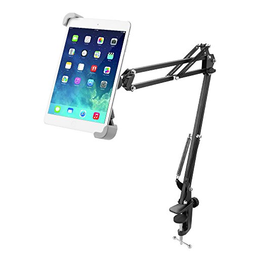 Miuko Tablet Stand, 360°Rotatable Easy-lock Holder Padded Holder Sturdy Aluminum Universal pad Mount Stand Holder for iPad Air Mini Galaxy Tab Android Windows and More 7-10.5' Tablets