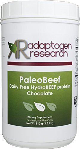 Paleo Beef Protein Powder | Chocolate Pure Grass-Fed Beef Collagen Peptides | 21Grams HydroBEEF Protein with Collagen | 30 Serving 810 Grams (1.8 LBS) | Adaptogen Research (Pulse Whey Protein)
