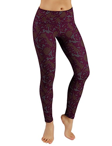ODODOS Power Flex Women's Tummy Control Workout Running Printed Pants Yoga Pants With Hidden Pocket,Camouflage, Small