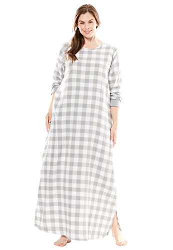 Plaid Flannel Lounger (Dreams & Co. Women's Plus Size Soft Cotton Flannel Lounger Grey Buffalo)