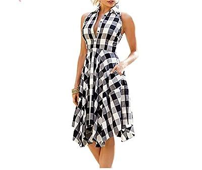 YUZHONGYWAN Dresses Yuzhongywan Women Plaid Dresses Fashion Summer Office Checks Flared Pockets Turn-Down Collar Shirt Dress