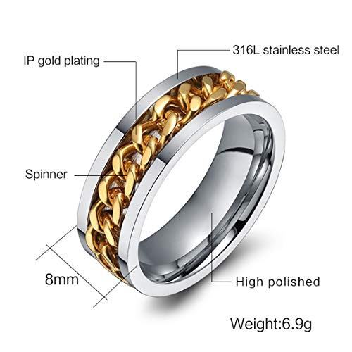 Men's Ring The Punk Rock Accessories Stainless Steel Black Chain Spinner Rings 3 Color Gold 10 (Best Medicine For Ring Guard)