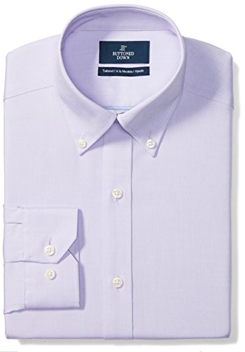 Buttoned Down Men's Tailored Fit Button-Collar Solid Non-Iron Dress Shirt (No Pocket), Purple, 16.5'' Neck 35'' Sleeve by Buttoned Down