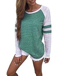 Women Fashion T Shirt - Stripe Splice Casual Long Sleeve Blouse Boyfriend Style