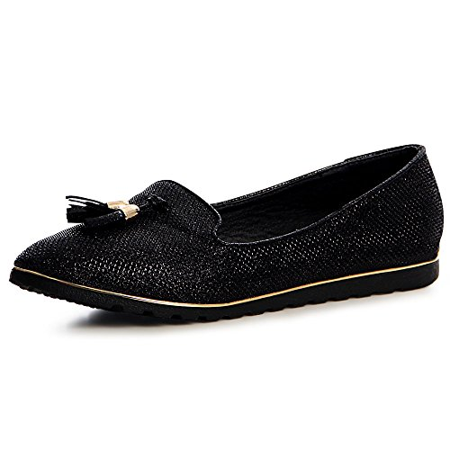 topschuhe24 1120 Damen Slipper Loafer Ballerina Glitzer Black