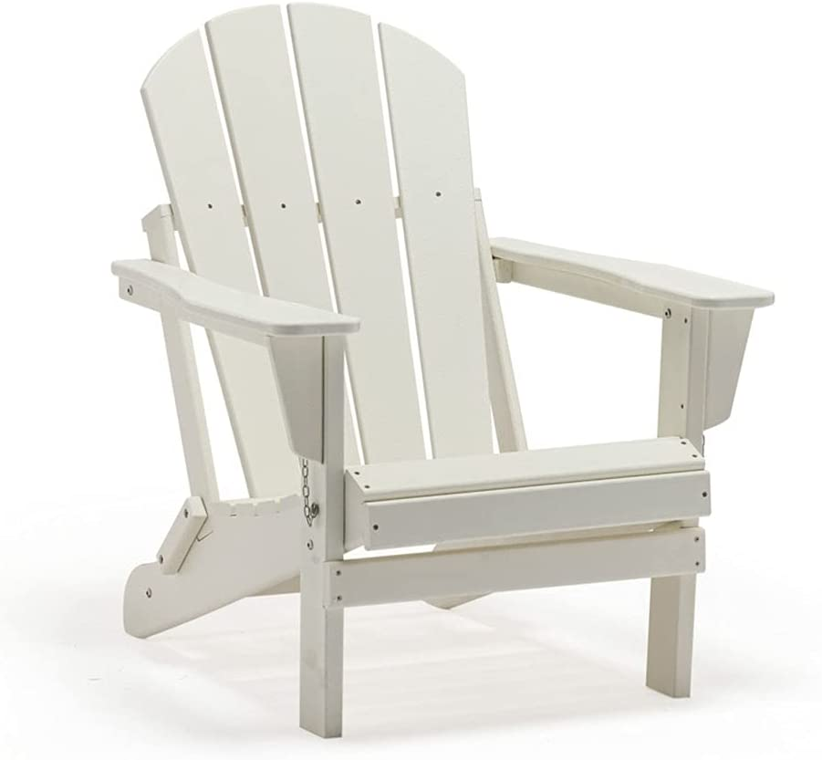 POLYKOM Foldin Adirondack Chair HDPE Outdoor Wood Plastic Lounge Beach Patio Rocking Lawn Chairs Lifetime for Outside Pool Furniture Seating Porch Weather Resistant (White)