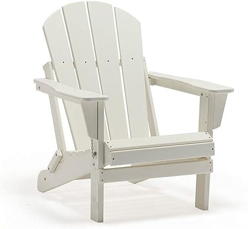 POLYKOM Foldin Adirondack Chair HDPE Outdoor Wood Plastic Lounge Beach Patio Rocking Lawn Chairs Lifetime