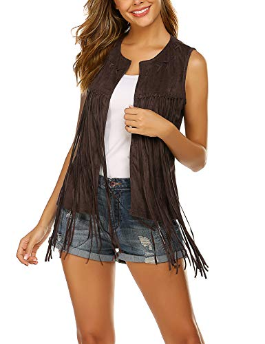 Hotouch Hippie Clothes for Women Suede Fringe Vest Country Shirts Western Vest for Women Coffee L