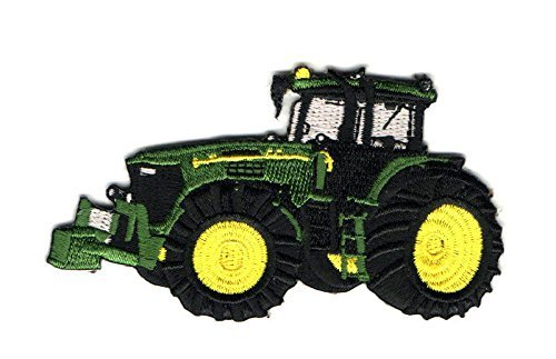 (Truck - Farm Tractor - Green - Fully Embroidered Iron on Patch - Left Cool Patch Iron)