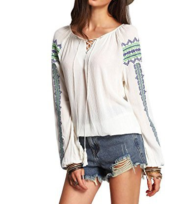 OEUVRE de la mujer bohemio bordado de encaje camisas Tops blusa Blanco blanco 36