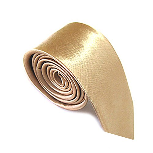 Mens Plain Color 100% Polyester Skinny Necktie Used for Business Formal Occasions Champagne (Gold Mens Tie)