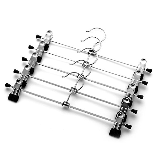 yutang clothes hanger with trouser clamp, metal non-slip rubber coated with chrome clips, pack of 10