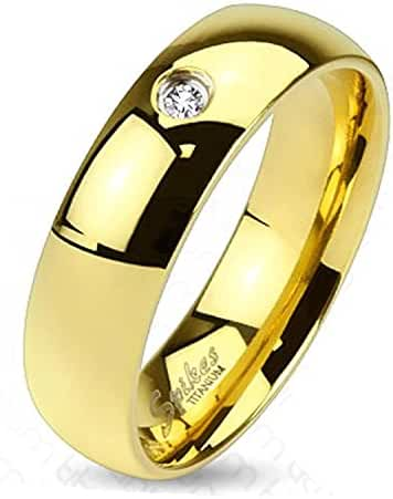 Wide Classic Gold IP Solid Titanium Band Ring with Single CZ