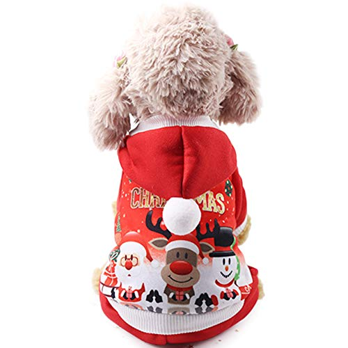 Idepet Christmas Dog Clothes for Small Dog Pet Xmas Costumes Winter Coat Sweatshirt Clothing Cute Puppy Outfit for Dog - M -