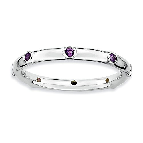 Size 9 - Amethyst 2.25mm Studded Band Sterling Silver Stackable Expressions - 2.25 Band Mm Studded