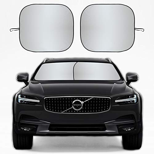 Kribin 2 Pack Car Windshield Sun Shade - 28'' x 32'' Foldable Sunshade for UV Protection and Heat Reflector - Keep Your Vehicle Cool